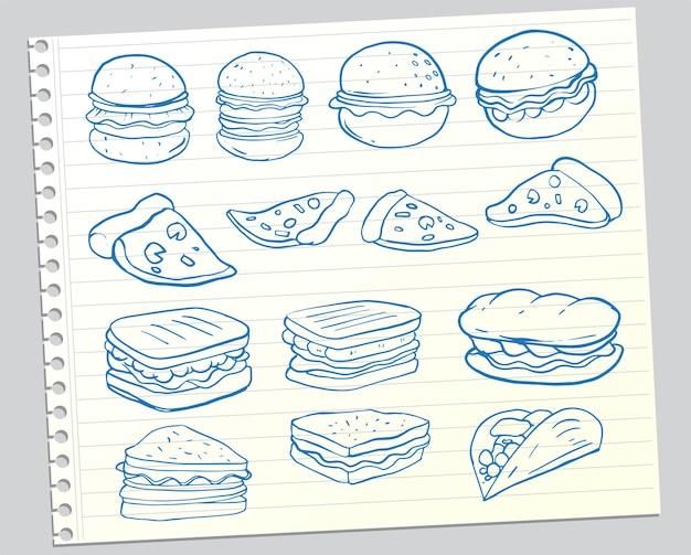 Ensemble de nourriture dessinée à la main isolé sur fond blanc, ensemble de doodle de restauration rapide. illustration vectorielle