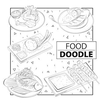 Ensemble de nourriture doodle. noir et blanc. à main levée
