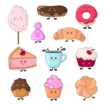 Ensemble de nourriture kawaii - bonbons ou desserts, personnages