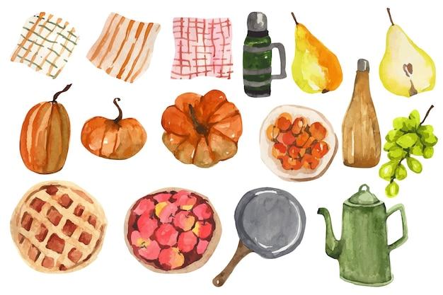 Ensemble de nourriture de pique-nique d'automne aquarelle dessinés à la main clipart automne