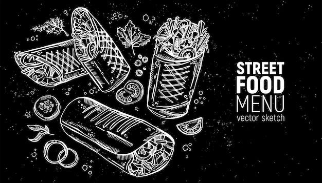 Ensemble de nourriture de rue