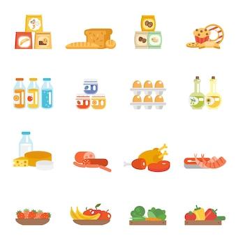 Ensemble de nourriture de supermarché