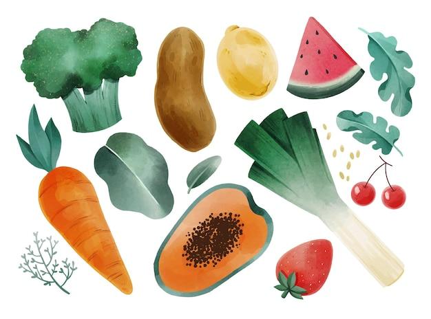 Ensemble de nourriture végétarienne aquarelle