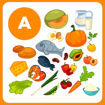 Ensemble de nourriture avec de la vitamine a.