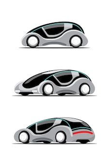 Ensemble de nouvelle voiture hitech innovation dans le style de dessin cartool, illustration plate sur fond blanc