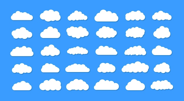 Ensemble de nuages de dessin animé sur fond bleu. ensemble de ciel bleu.