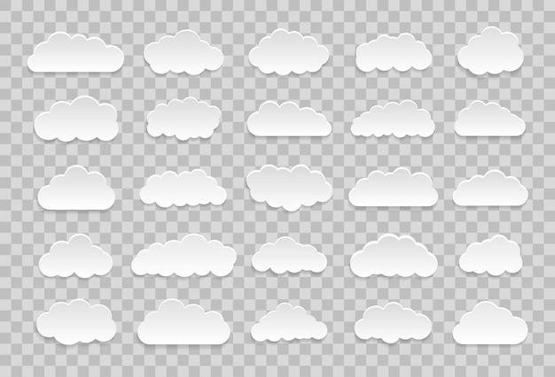 Ensemble de nuages de dessin animé sur fond transparent