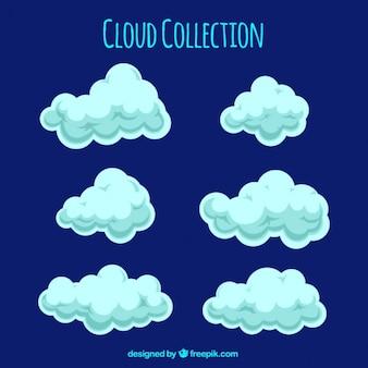 Ensemble de nuages duveteux