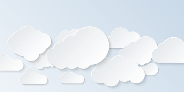 Ensemble de nuages. nuages de dessin animé isolés sur fond clair. .