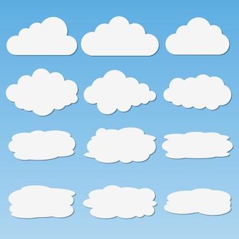 Ensemble de nuages de papier différents avec des ombres