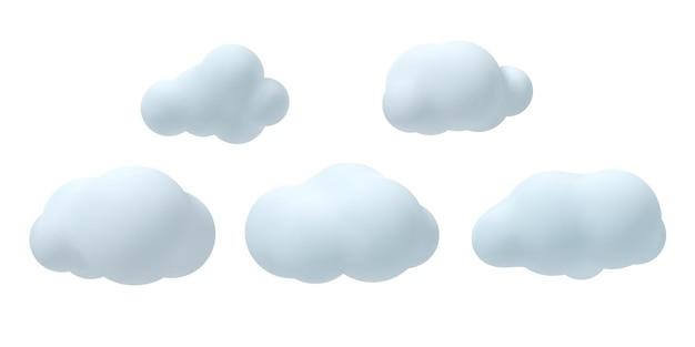 Ensemble de nuages vectoriels 3d.