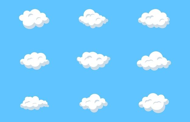 Ensemble de nuages vectoriels icônes de nuages nuages sur fond isolé