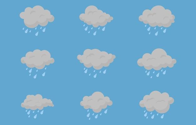 Ensemble de nuages vectoriels icônes de nuages nuages de mauvais temps sur un fond isolé