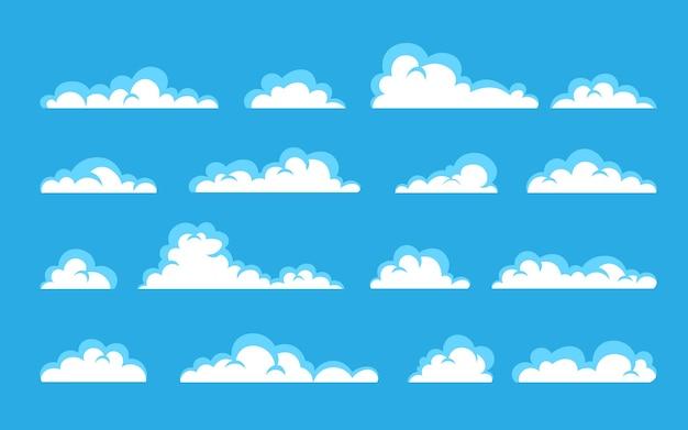 Ensemble nuageux blanc abstrait isolé sur fond bleu