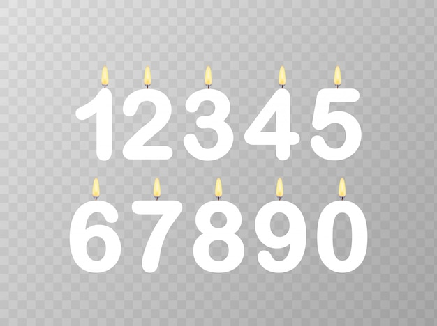 Ensemble de numéros de bougie joyeux anniversaire.