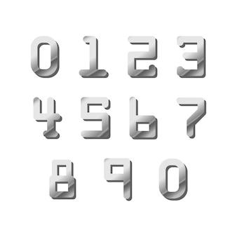Ensemble de numéros brillant argent de carte de crédit sur blanc