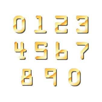 Ensemble de numéros brillants dorés de carte de crédit sur blanc