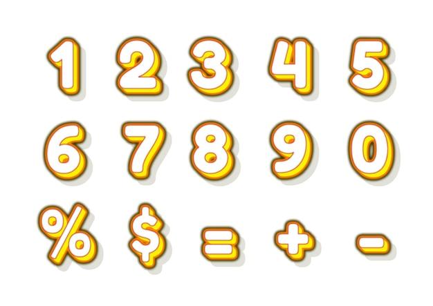 Ensemble de numéros de citron jaune simple et amusant