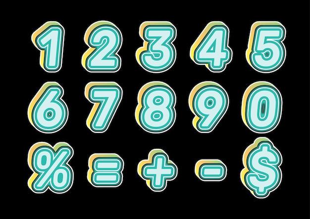 Ensemble de numéros de couleur pour enfants ludiques