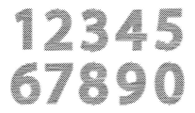Ensemble de numéros de demi-teintes