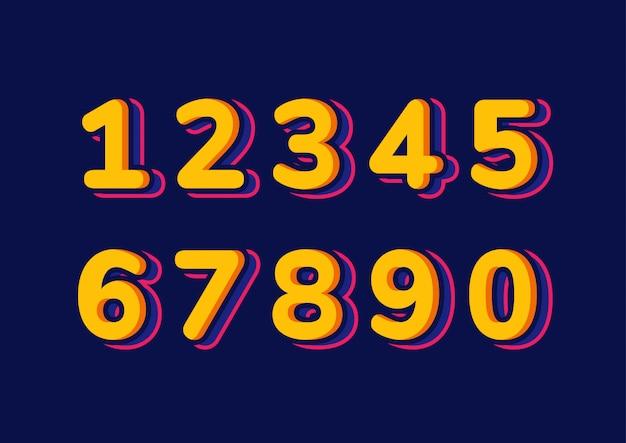 Ensemble de numéros d'enfants colorés