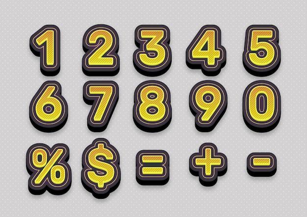 Ensemble de numéros de mode ligne jaune