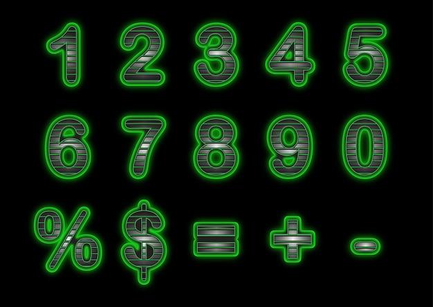 Ensemble de numéros de poignée verte