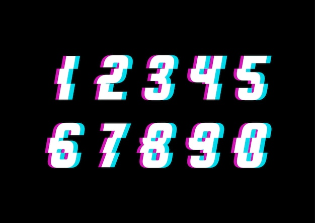 Ensemble de numéros de technologie d'espace moderne glitch