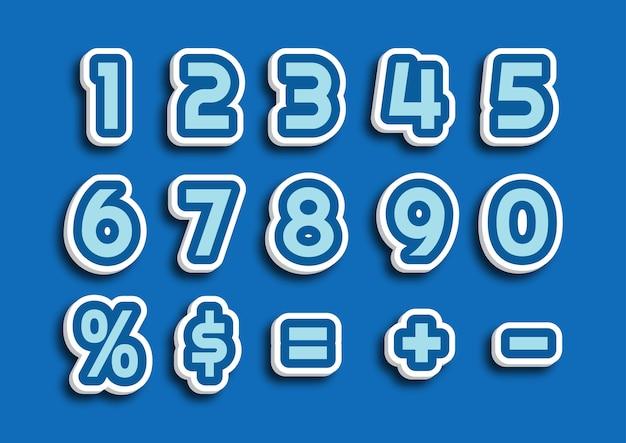 Ensemble de numéros de thème bleu dessin animé mignon