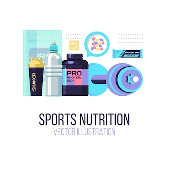 Un ensemble de nutrition sportive et d'accessoires pour le sport.