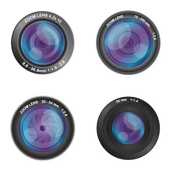 Ensemble d'objectifs d'appareil photo isolé sur blanc