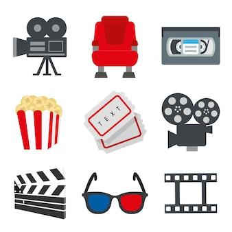Ensemble d'objet élément pour illustration de signe de film et cinéma