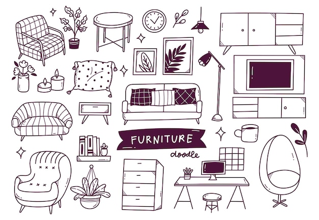 Ensemble d'objet intérieur dans un style doodle dessiné à la main