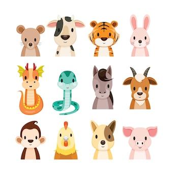 Ensemble d'objets 12 animaux signes du zodiaque chinois