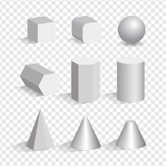 Ensemble des objets 3d blancs de différentes formes. cube, pyramide, cylindre, sphère, cône.