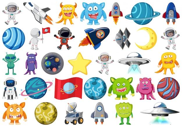 Ensemble d'objets d'astronomie isolés