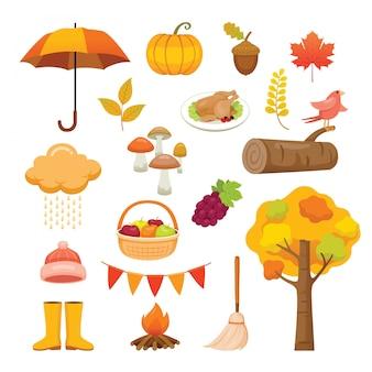 Ensemble d'objets d'automne