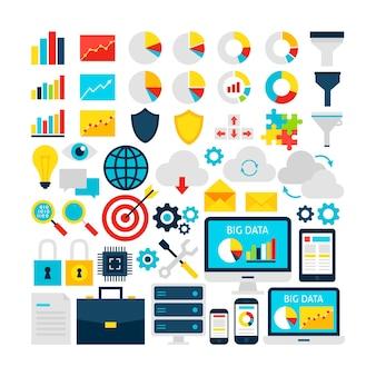 Ensemble d'objets big data. illustration vectorielle de conception plate. articles colorés d'analyse commerciale.