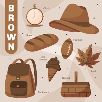 Ensemble d'objets bruns et mots de vocabulaire en anglais