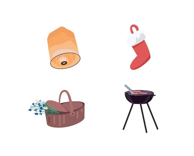 Ensemble d'objets de couleur plate de décoration de vacances