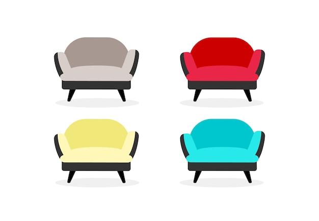 Ensemble d'objets de couleur plate de fauteuils. mobilier de bureau et de maison. chaises douces. caricature isolée d'ameublement de salon