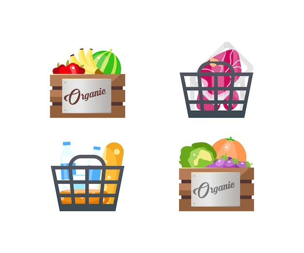 Ensemble d'objets de couleur plate de paniers alimentaires. fruits et légumes biologiques. viande surgelée. achats. boîtes d'épicerie dessin animé isolé
