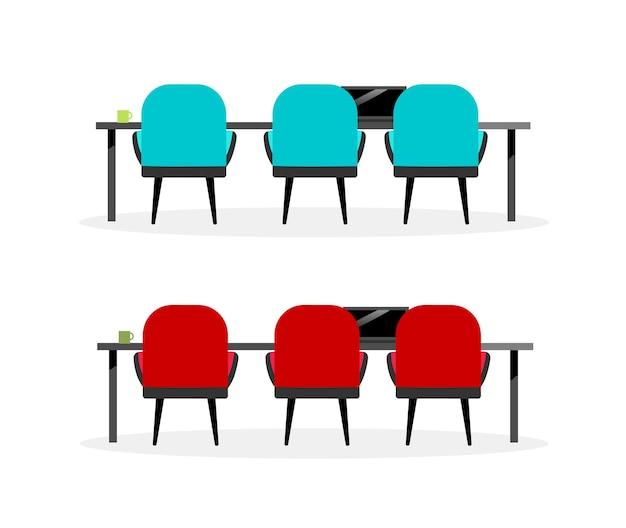 Ensemble d'objets de couleur plate table et chaises de réunion. chaises visiteurs. lieu de travail. dessin animé isolé de meubles de bureau