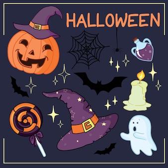 Ensemble d'objets et de créatures liés à halloween. ensemble d'icônes d'halloween pour votre conception. design plat. symboles d'halloween.