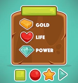 Ensemble d'objets de dessin animé pour une interface utilisateur graphique pour créer des jeux 2d
