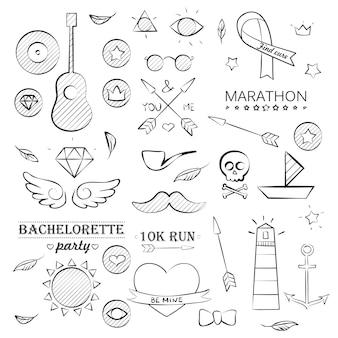 Ensemble d'objets dessinés à la main de la mer doodle. ensemble d'objets de croquis marin d'été