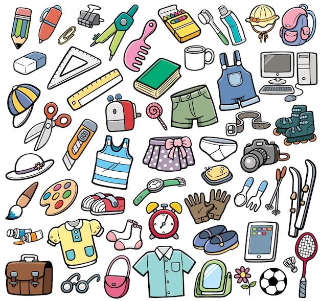 Ensemble d'objets différents