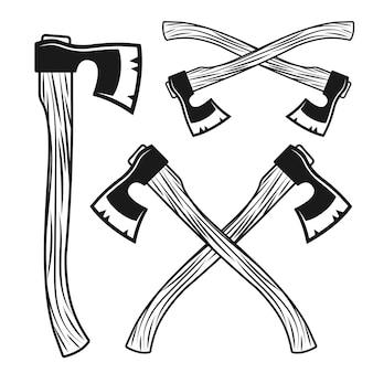 Ensemble D'objets Ou D'éléments D'axes Dans Un Style Vintage Vecteur Premium