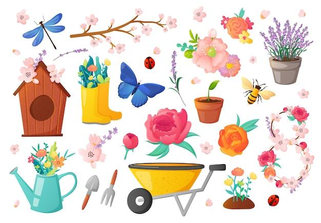 Ensemble d'objets et de fleurs de jardinage de saison de printemps