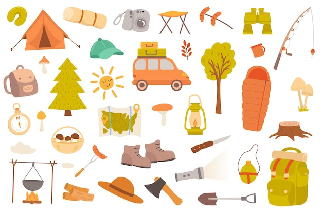 Ensemble d'objets isolés de camping et de randonnée collection de jumelles de forêt de tentes de voiture carte de pêche